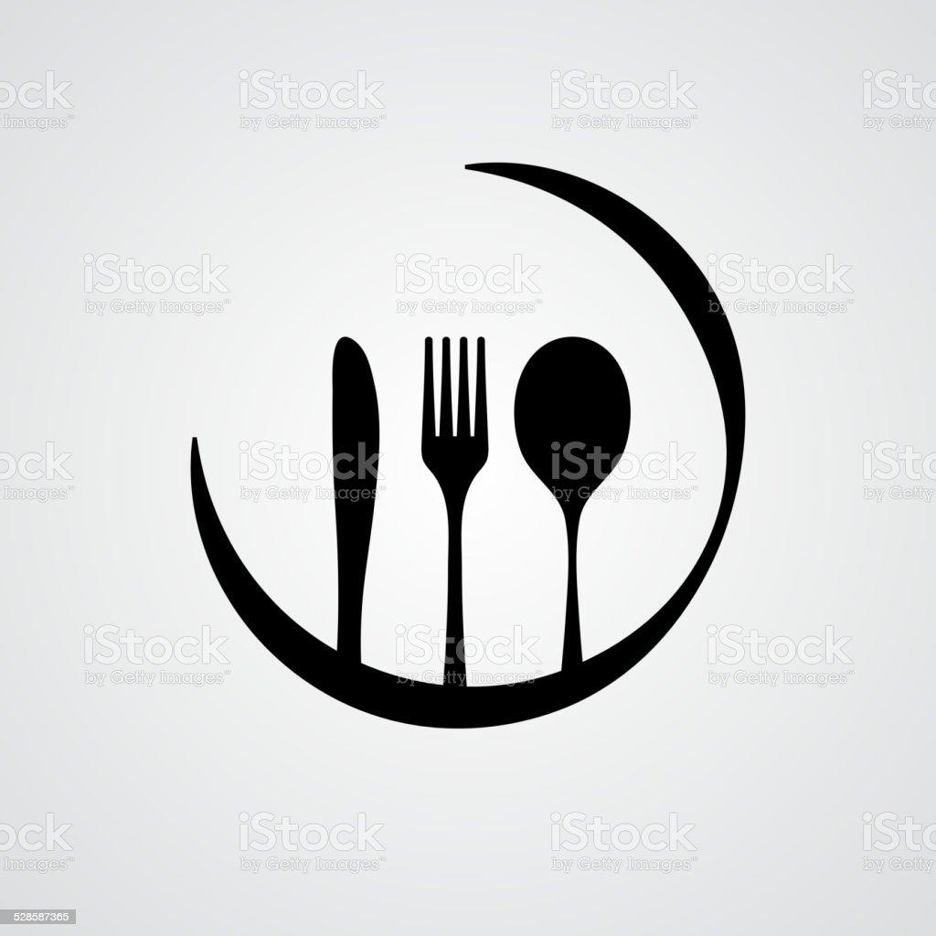 Cutlery black vector art illustration