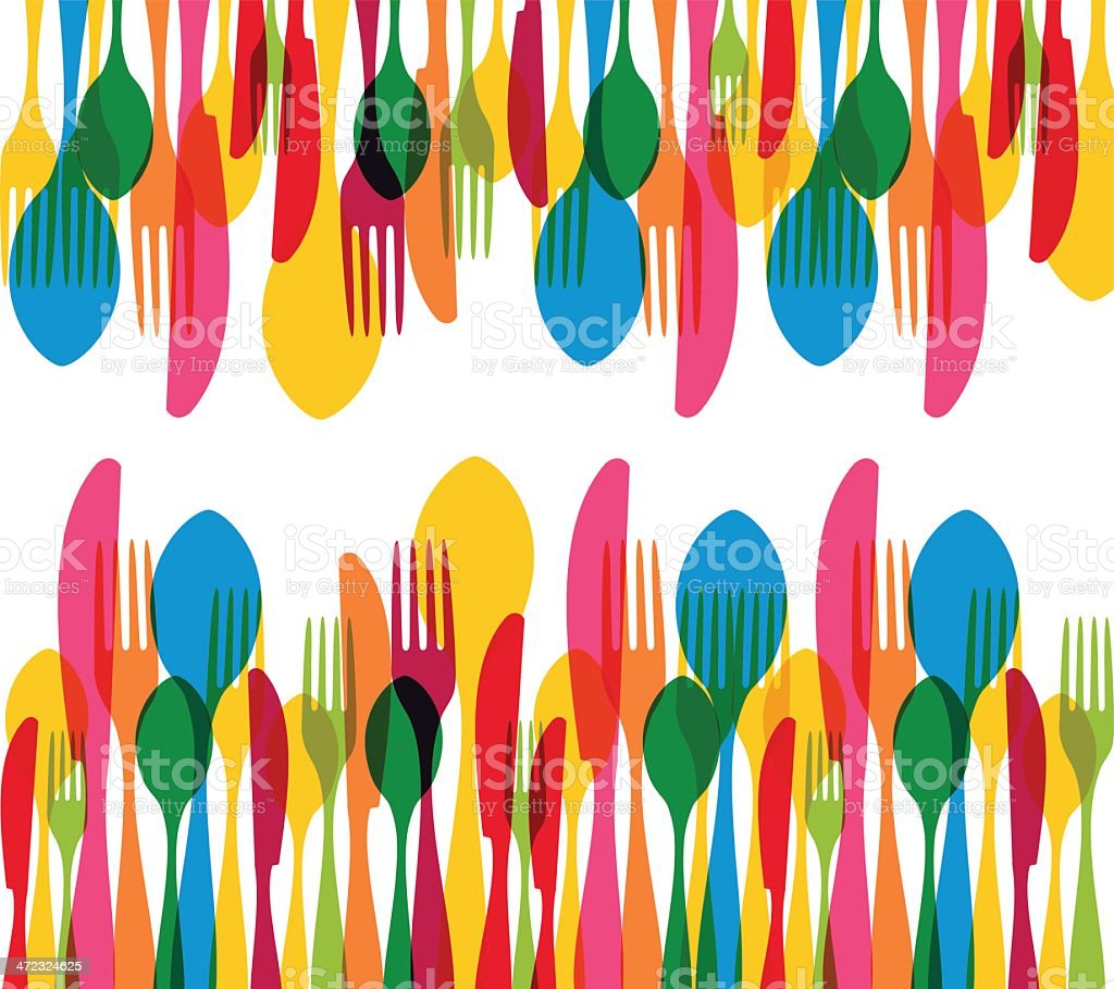 Cutlery contemporary background vector art illustration