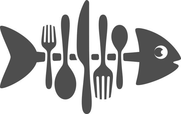 カトラリー魚 - 魚の骨点のイラスト素材/クリップアート素材/マンガ素材/アイコン素材