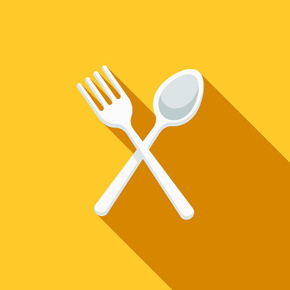 Cutlery Flat Design BBQ Icon with Side Shadow