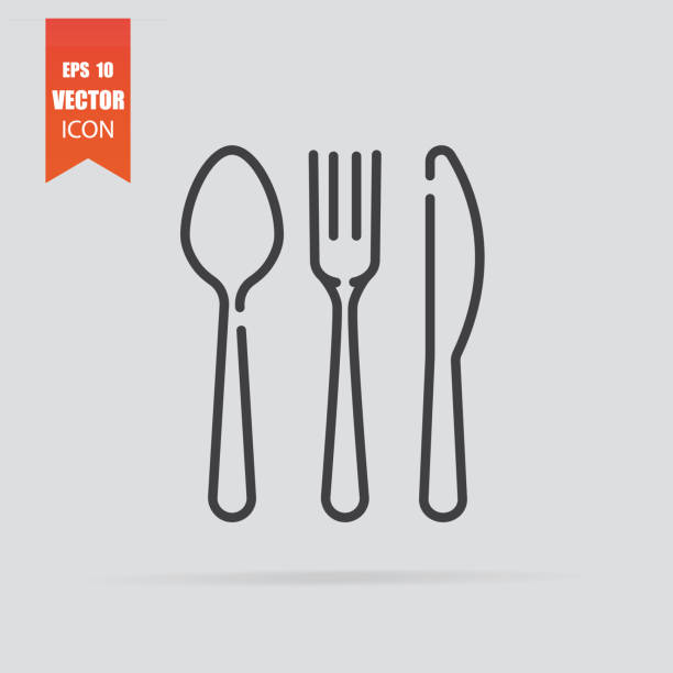 Cutlery icon in flat style isolated on grey background. Cutlery icon in flat style isolated on grey background. For your design, logo. Vector illustration. spoon stock illustrations