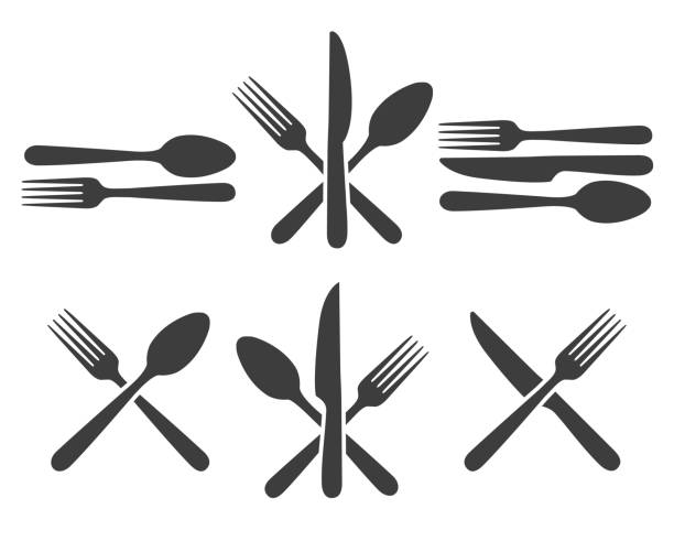 Cutlery icon set Cutlery icon set. Kitchen cutlery icons with fork, spoon and knife image, metal dining facilities for restaurant fork stock illustrations