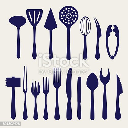 Fork, knife, spoon and other cutlery icons on grey backgound. Vector illustration