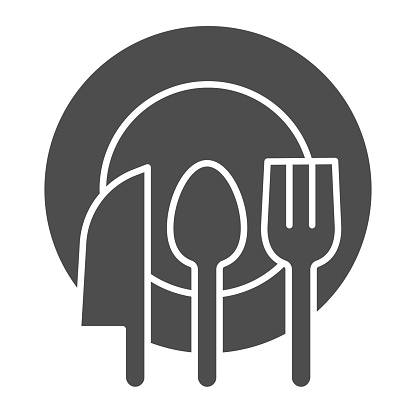 Cutlery line and solid icon. Spoon, fork and knife on clean plate symbol, outline style pictogram on white background. Healthy food or kitchen sign for mobile concept and web design. Vector graphics