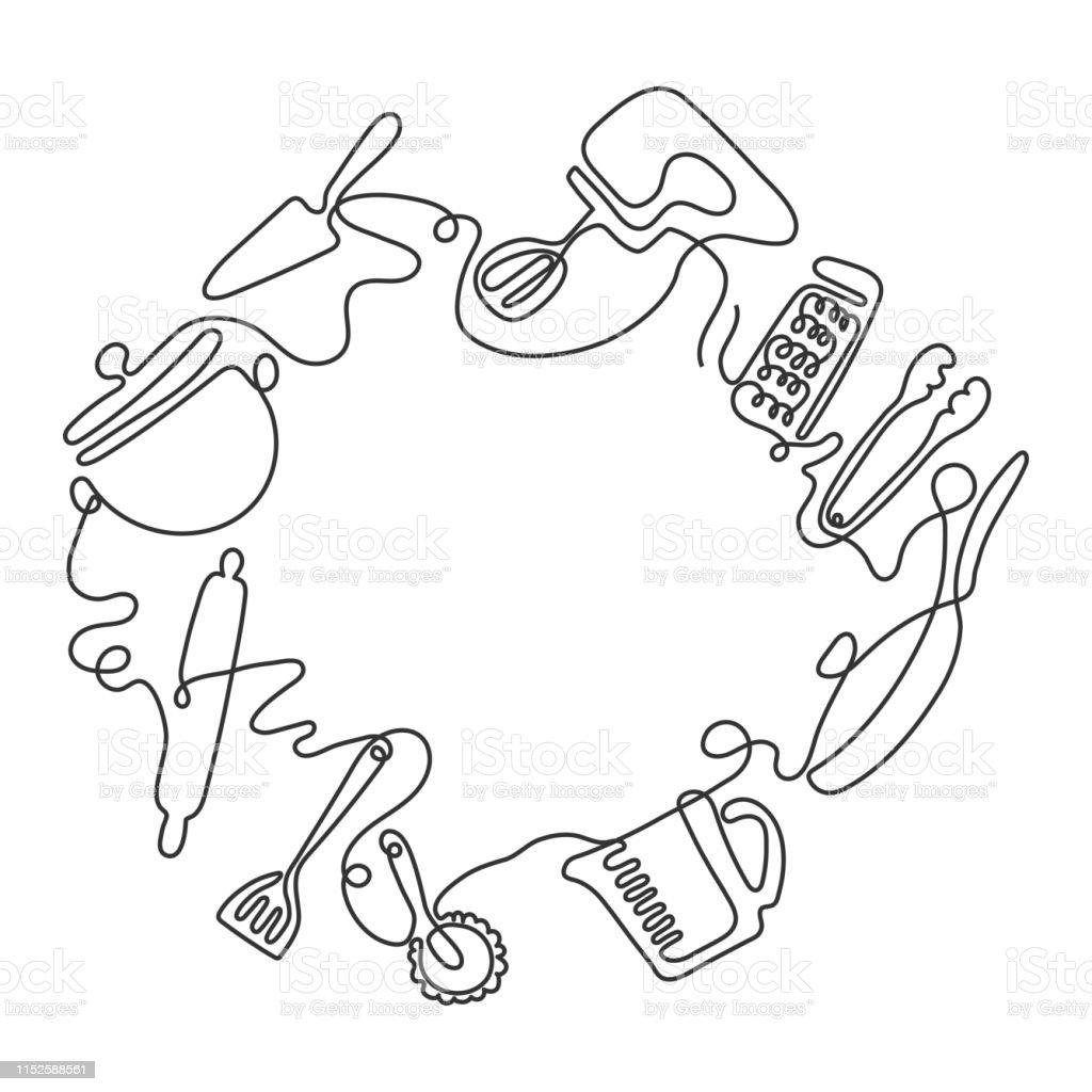 Bestecklinie Kunst Hintergrund Eine Zeichnung Verschiedener Kuchenutensilien Vektor Stock Vektor Art Und Mehr Bilder Von Abstrakt Istock