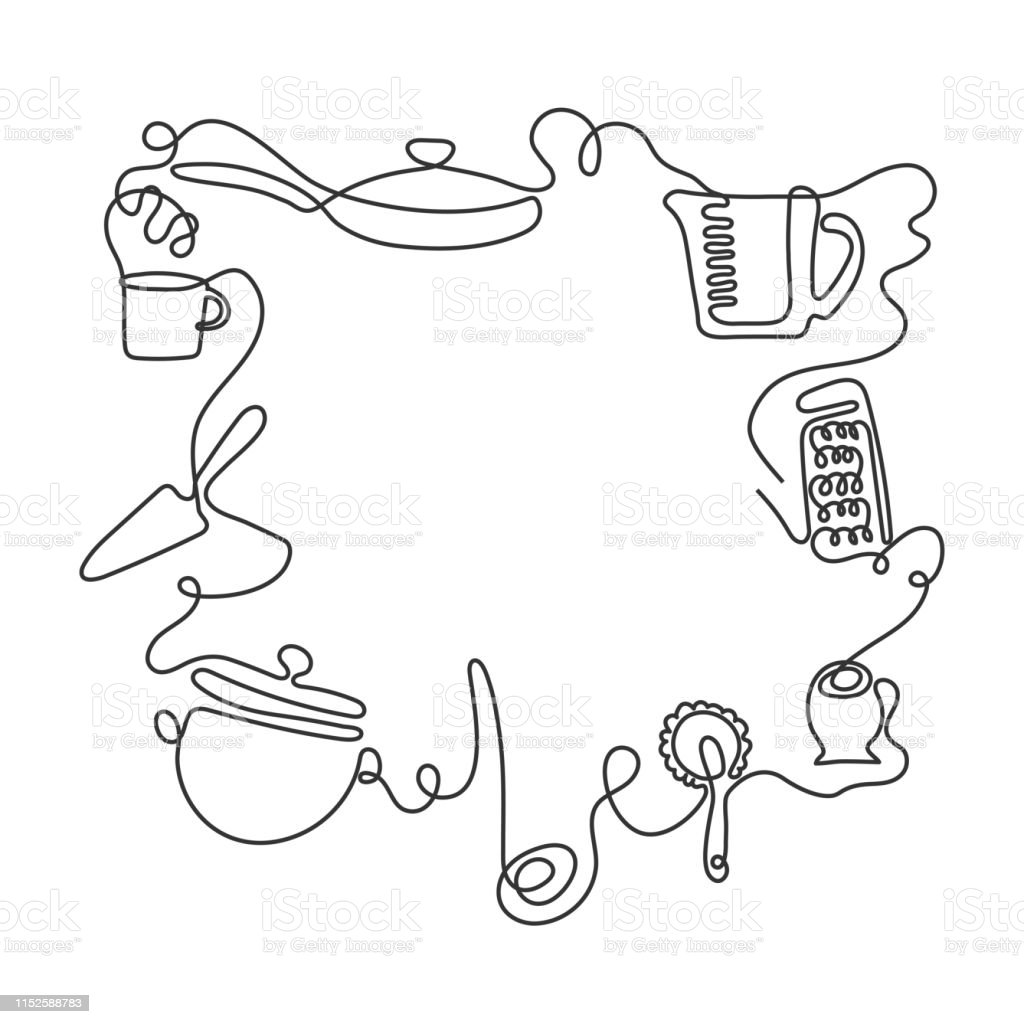Cutlery line art background. One line drawing of different kitchen...