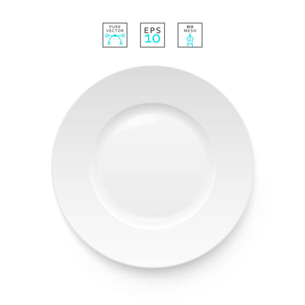 Cutlery object realistic. Plate isolated.   Items realistic vector art illustration