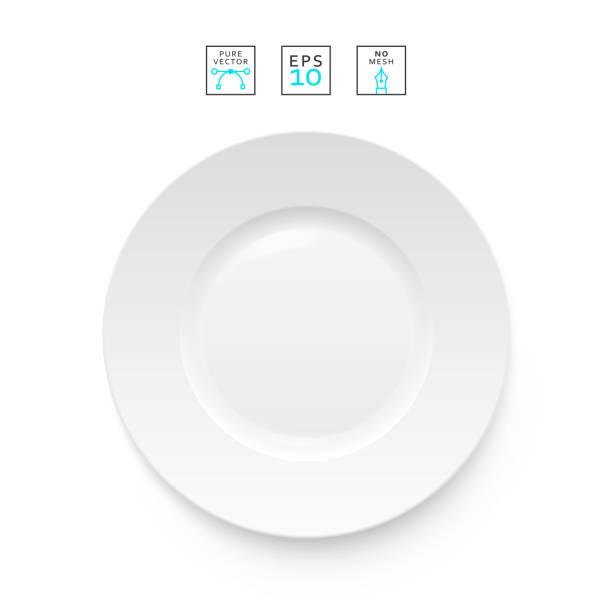 bildbanksillustrationer, clip art samt tecknat material och ikoner med cutlery object realistic. plate isolated.   items realistic - empty plate