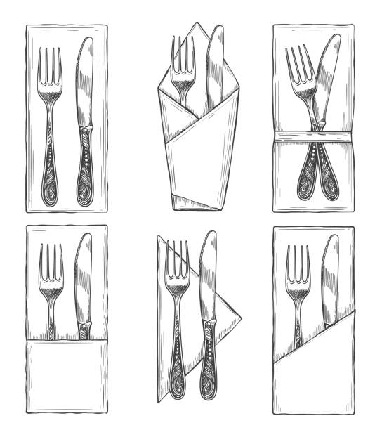 stockillustraties, clipart, cartoons en iconen met bestek op servetten set schets - servet
