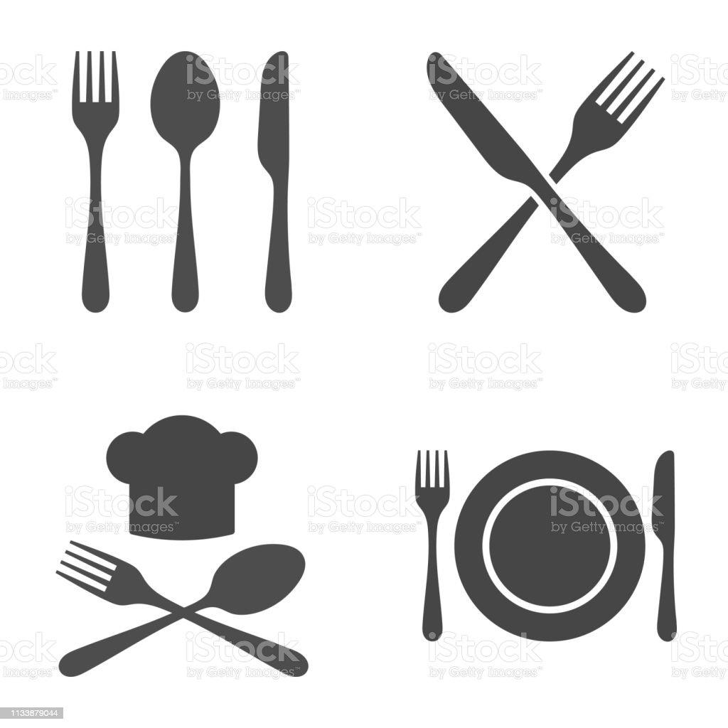 Besteck Restaurant Icon Set. Vektordarstellung auf weißem Hintergrund. - Lizenzfrei Arrangieren Vektorgrafik