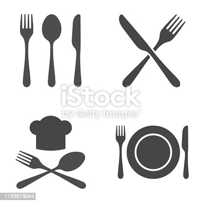 Cutlery Restaurant Icon Set. Vector illustration on white background.