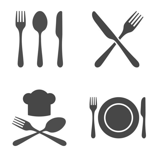 illustrazioni stock, clip art, cartoni animati e icone di tendenza di cutlery restaurant icon set. vector illustration on white background. - cena