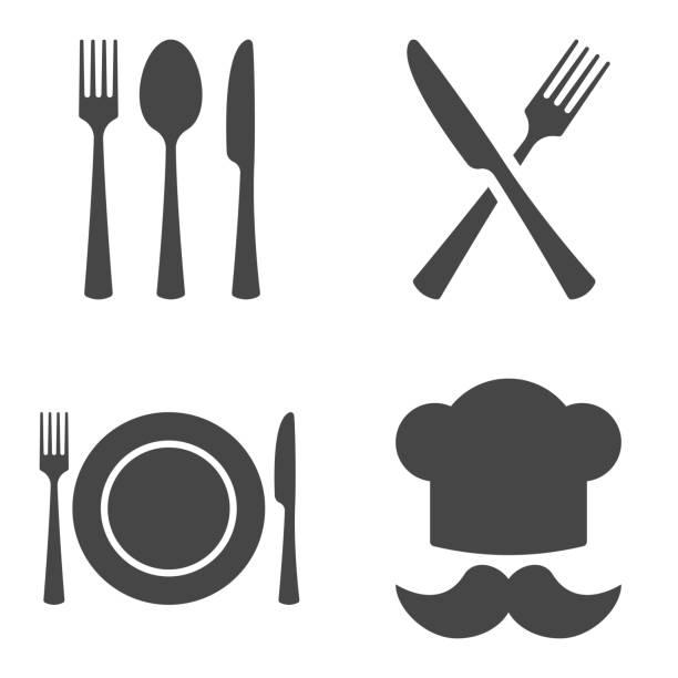 stockillustraties, clipart, cartoons en iconen met bestek restaurant icon set. vector illustratie op witte achtergrond. - keukenmes