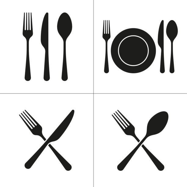 illustrazioni stock, clip art, cartoni animati e icone di tendenza di cutlery restaurant icons - coltello posate