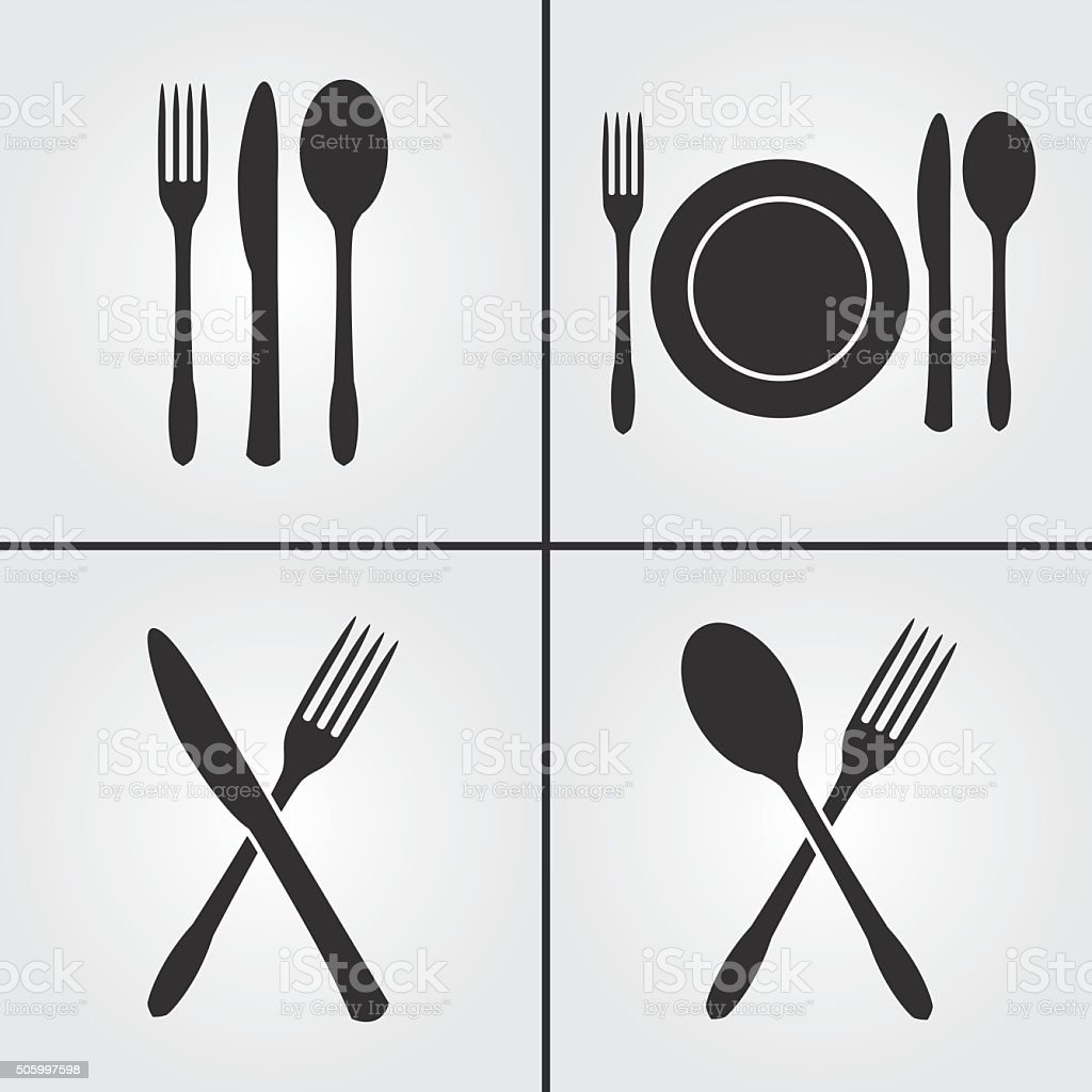 Cutlery Restaurant Icons vector art illustration