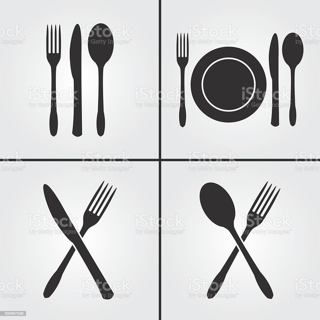 Cutlery Restaurant Icons Vector Art Illustration