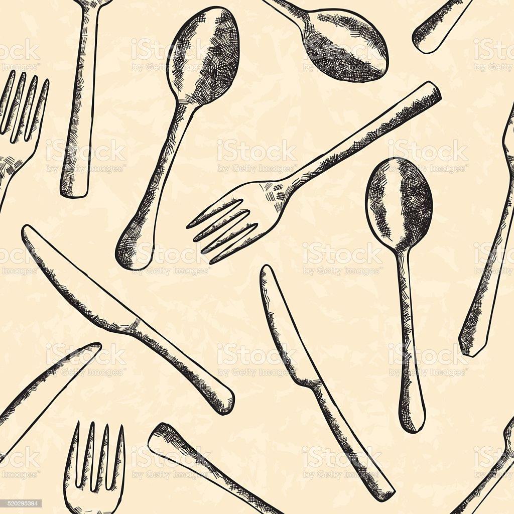 Cutlery seamless pattern vector art illustration
