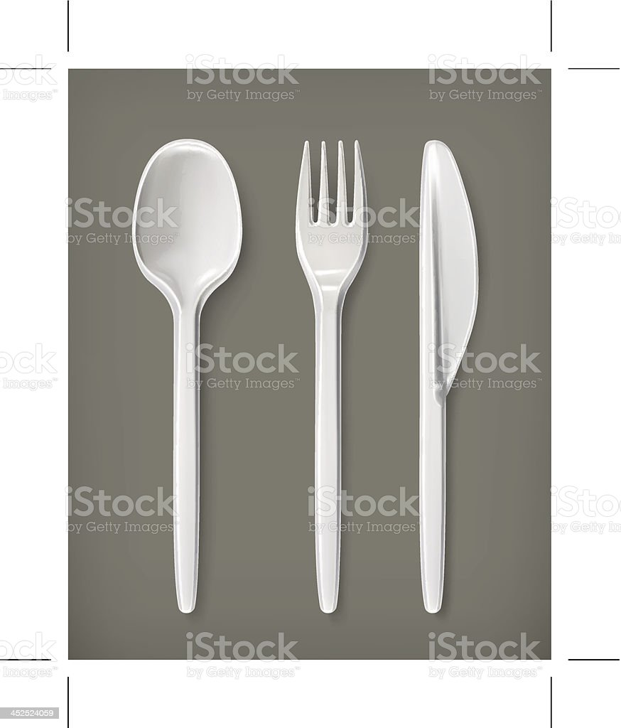 Cutlery set of knife, fork and spoon vector art illustration