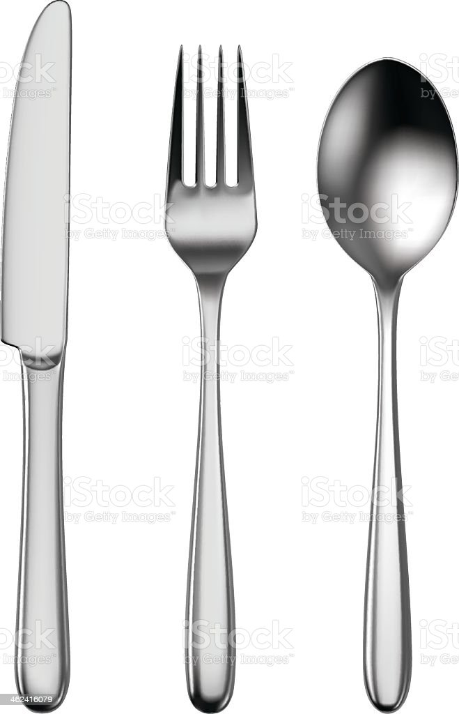Cutlery set of utensils for eating vector art illustration
