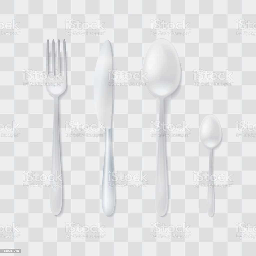 Cutlery Set Silver Fork Spoon And Knife Top View Flatware Vector ...