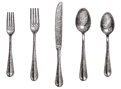 Old style illustration of forks, spoons and a knife