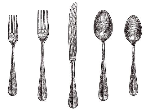 Cutlery set vector drawings
