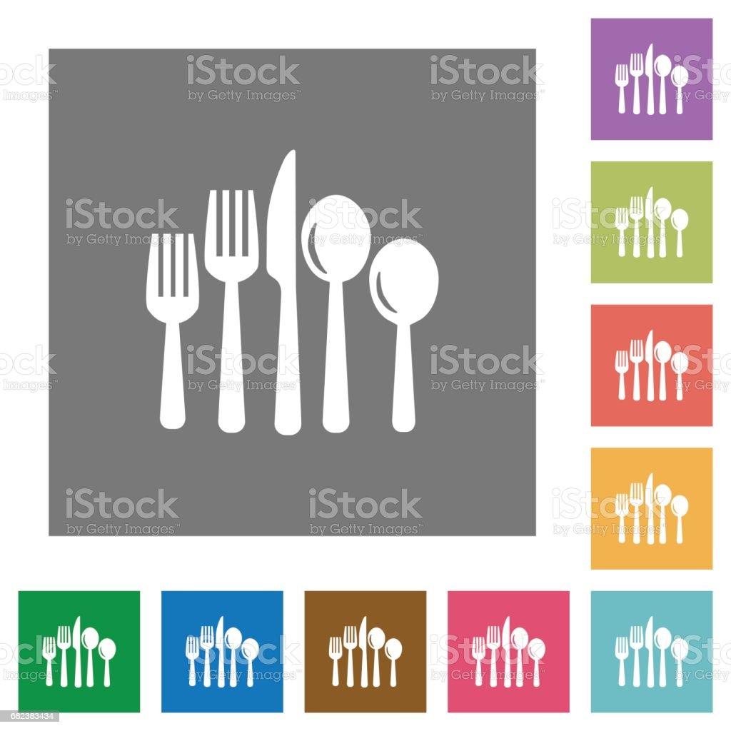 Cutlery square flat icons cutlery square flat icons - immagini vettoriali stock e altre immagini di alimentazione sana royalty-free