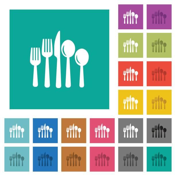 besteck-quadrat flach multi farbige symbole - winkelküche stock-grafiken, -clipart, -cartoons und -symbole