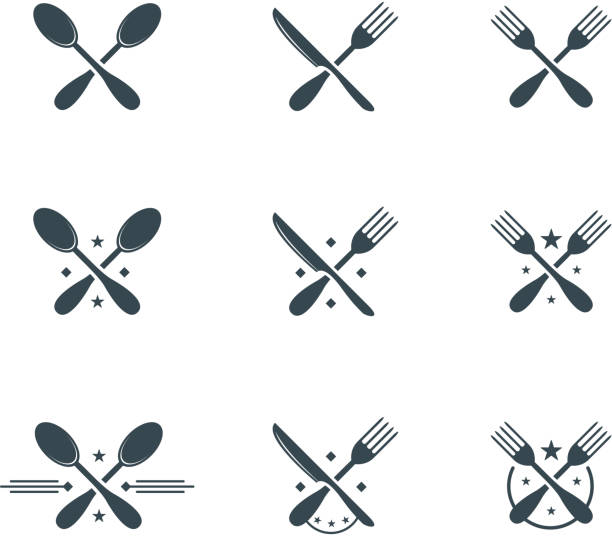 cutlery symbols - restaurant logos stock illustrations, clip art, cartoons, & icons