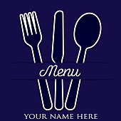 Cutlery theme paper cut out menu in vector format.