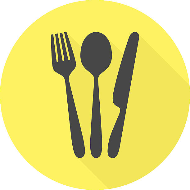 cutlery vector icon with long shadow. - gabeln stock-grafiken, -clipart, -cartoons und -symbole