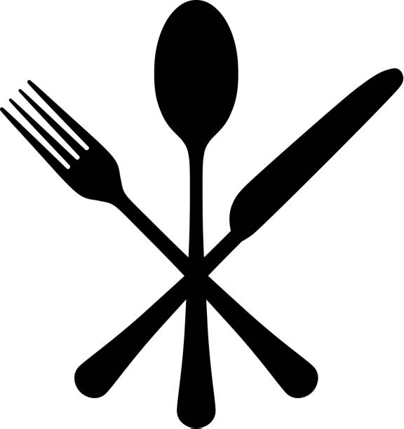 illustrazioni stock, clip art, cartoni animati e icone di tendenza di cutlery - coltello posate
