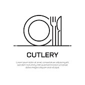 Cutlery Vector Line Icon - Simple Thin Line Icon, Premium Quality Design Element