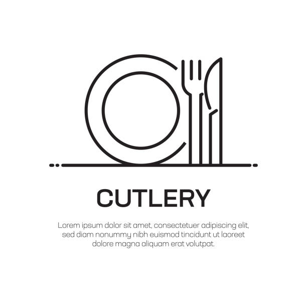 illustrazioni stock, clip art, cartoni animati e icone di tendenza di cutlery vector line icon - simple thin line icon, premium quality design element - coltello posate