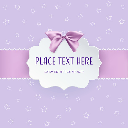 Cutout 3D paper figure frame label with pink satin bow and ribbon on the purple background with dotted stars. Invitation, greeting card or baby shower template. Clean and minimal design. Vector.