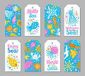 Paper cutout marine kids design element tags. Funny cartoon turtle, fish, octopus, shell, calamari, starfish, jellyfish doodle vector illustration. Lettering phrase I love, Enjoy, Hello, Welcome to sea