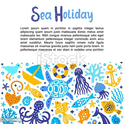 Cutout marine style kids design element paper flyer card with Sea Holiday lettering title. Vector funny cartoon doodle background of fish, octopus, gull, shell, calamari, starfish, jellyfish, guitarfish