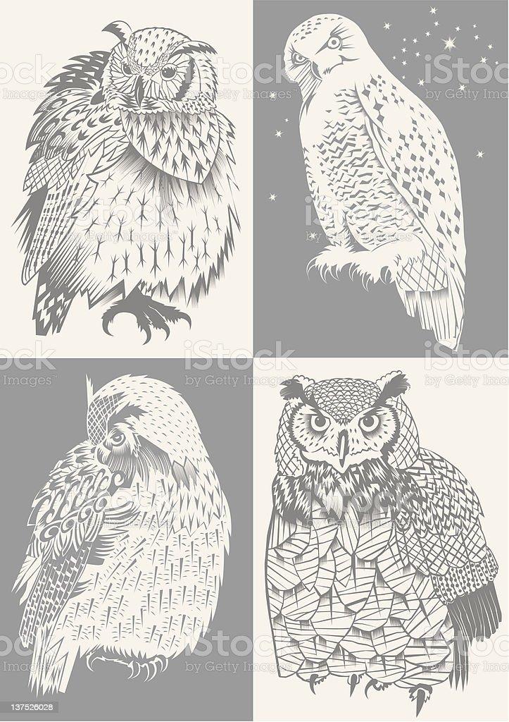 Cut-out Owls向量藝術插圖