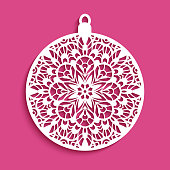 Ornamental Christmas ball, cutout paper decoration with crochet lace pattern, circle template for laser cutting or wood carving