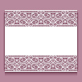 Elegant cutout paper frame with lace border ornament, greeting card or wedding invitation template