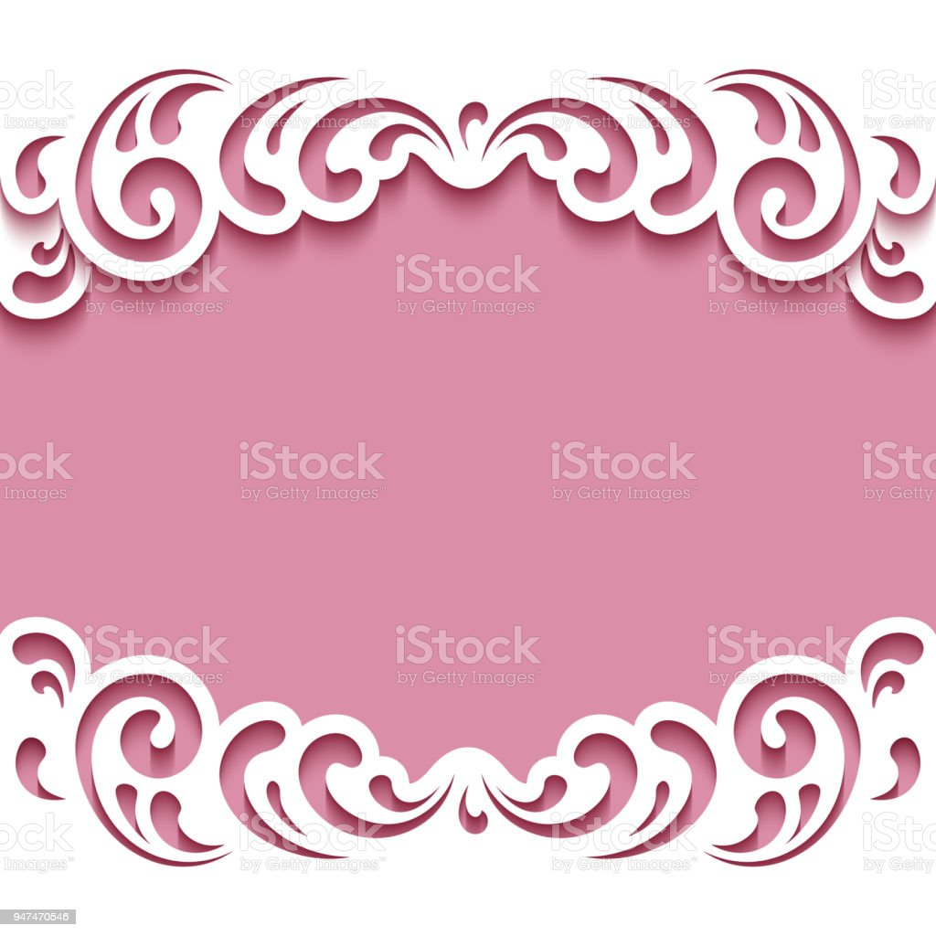 cutout paper frame with lace border template for cutting stock