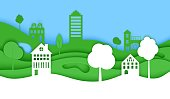 Cutout paper trees and building green wave and blue sky. Template in cut paper style for save the Earth posters, city ecology brochures, ienvironmental Protection. Vector horizontal illustration.
