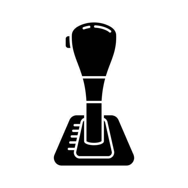 Cutout silhouette Automatic transmission, car gearbox icon Cutout silhouette Automatic transmission, car gearbox icon. Outline logo of gear shift with button. Black simple illustration of shift knob, lever arm. Flat isolated vector image on white background gearshift stock illustrations