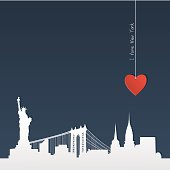 White silhouette of skyline of New York with heart, paper-cut