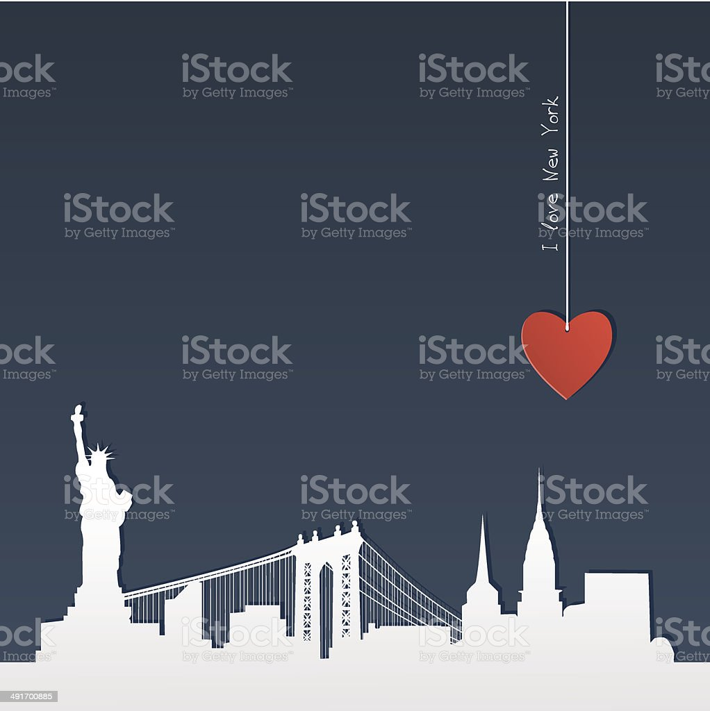 Cut-out silhouette of New York vector art illustration