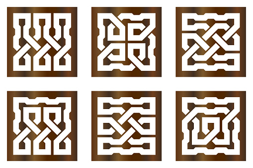 Cutout silhouette panels set with ornamental geometric Celtic knot pattern. Template for printing, laser cutting stencil, engraving. Vector illustration.