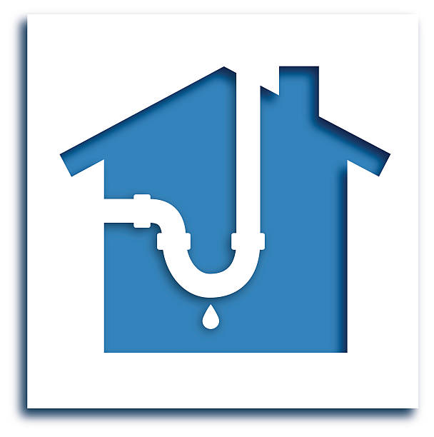 cutoutleakypipehouseicon - plumber stock illustrations, clip art, cartoons, & icons