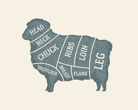 Cuts of Lamb diagram. Butcher's guide poster. Sheep silhouette. Meat cuts chart. Vintage poster, banner for butchery, grocery store, meat shop, restaurant. Vector illustration