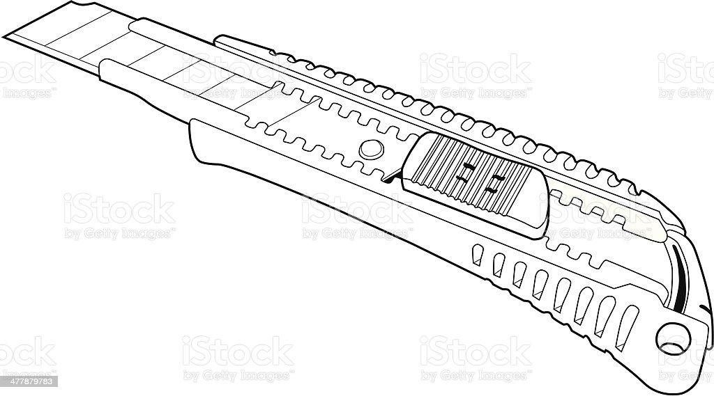cutter knife line art. royalty-free stock vector art