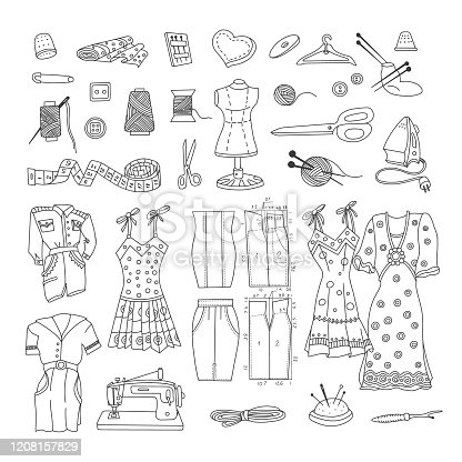 Cutting and sewing Doodle Set. Vector illustration.